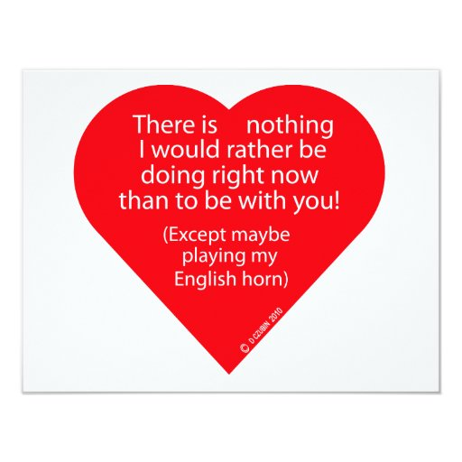 Nothing I Would Rather Do English Horn 4.25x5.5 Paper Invitation Card