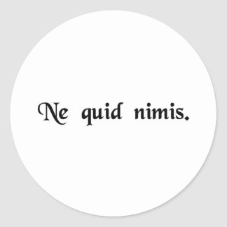Nothing in excess. classic round sticker