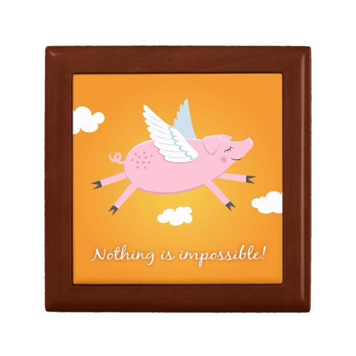 Nothing is impossible flying pig cartoon gift box