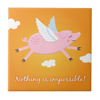 Nothing is impossible flying pig tile/gift box tile