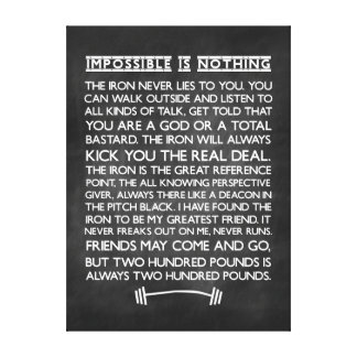 Nothing is impossible Gym Motivational Chalkboard Canvas Prints