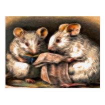"""""""Nothing on TV Tonight"""" Mice Postcard"""