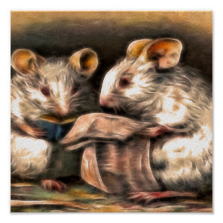 Nothing on TV Tonight - Mice Reading Poster