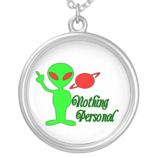 Nothing Personal Space Alien Silver Plated Necklace