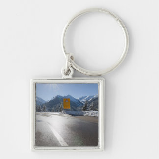 notice board on a winter road, snow covered 2 keychain