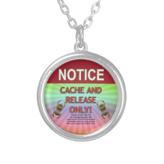 NOTICE CACHE AND RELEASE ONLY! GEOCACHING SILVER PLATED NECKLACE