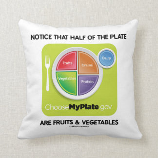 Notice Half Of Plate Are Fruits And Vegetables Throw Pillow