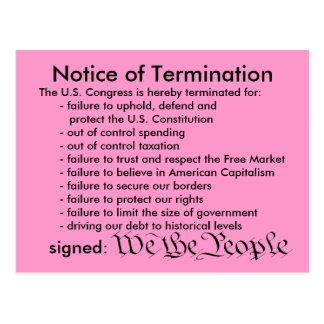 Notice of Termination postcard
