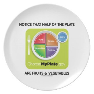 Notice That Half Of Plate Are Fruits & Vegetables