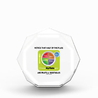 Notice That Half Of Plate Are Fruits & Vegetables Acrylic Award
