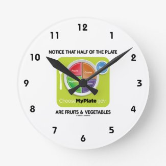 Notice That Half Of Plate Are Fruits & Vegetables Round Wall Clock