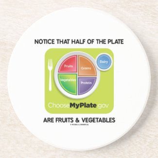 Notice That Half Of Plate Are Fruits & Vegetables Beverage Coasters