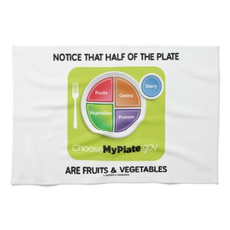 Notice That Half Of Plate Are Fruits & Vegetables Towels