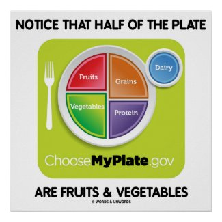 Notice That Half Of Plate Are Fruits & Vegetables Poster