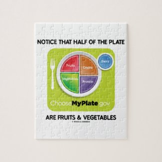Notice That Half Of Plate Are Fruits & Vegetables Puzzles