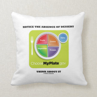 Notice The Absence Of Dessert Think About It Throw Pillow