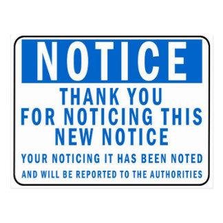Notice the Notice Postcard