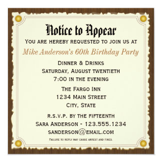 Notice to Appear Birthday Party invitation