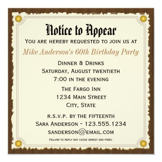 Notice to appear birthday party invitation zazzle notice to appear birthday party invitation stopboris Images