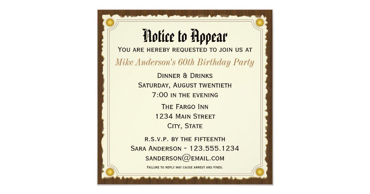 Notice to appear birthday party invitation zazzle stopboris Gallery