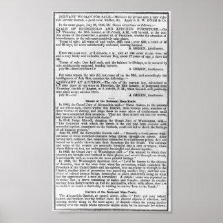NOTICIAS DE NEGOCIO DE LA ESCLAVITUD   1847 PÓSTER