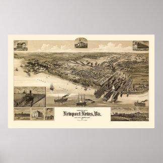 Noticias de Newport, mapa panorámico del VA - 1891 Impresiones