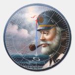NOTICIAS y capitán del mapa/decoración o capitán Etiquetas Redondas