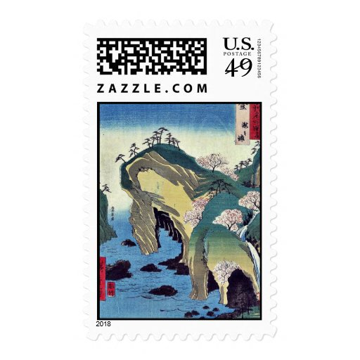Noto, taki no ura by Ando, Hiroshige Ukiyoe Stamp