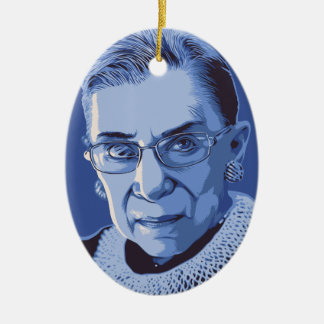 Notorious RBG Double-Sided Oval Ceramic Christmas Ornament