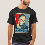 "Notorious RBG Ruth Bader Ginsburg T-Shirt<br><div class=""desc"">Awesome image of Supreme Court Justice Ruth Bader Ginsburg aka Notorious RBG. The design is done in the hope poster style and has a stamp edge on the outside. It says the words Notorious RBG at the bottom. Excellent shirt for women's rights,  liberals,  progressive and Democrats.</div>"