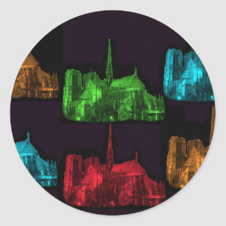 Notre Dame at Night Collage Classic Round Sticker