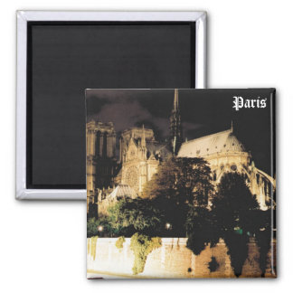 Notre Dame at night.  Paris, France. 2 Inch Square Magnet