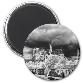 Notre Dame, b&w de París 4 Imanes