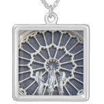 Notre Dame Cathedral, detail Square Pendant Necklace