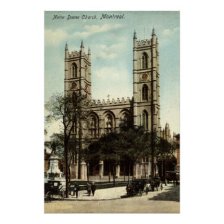 Notre Dame Church Montreal Vintage 1914 Poster
