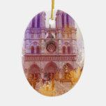 Notre Dame de Paris Adorno Navideño Ovalado De Cerámica