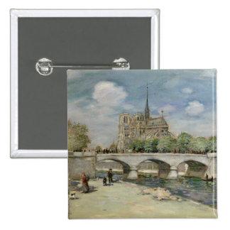 Notre Dame de Paris, c.1900 Pin Cuadrada 5 Cm