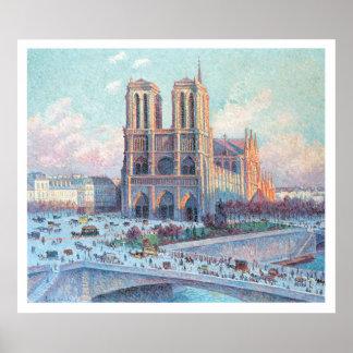 Notre Dame de Paris del viaje del vintage Poster