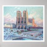 Notre Dame de Paris del viaje del vintage Póster