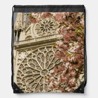 Notre Dame de Paris in Pink Spring Flowers Drawstring Backpack