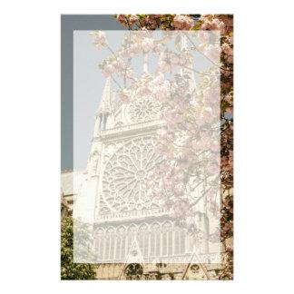 Notre Dame de Paris in Pink Spring Flowers Stationery