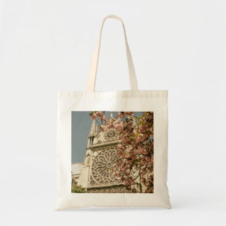 Notre Dame de Paris in Pink Spring Flowers Tote Bag