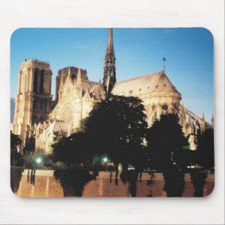 Notre-Dame de Paris in the evening. Mouse Pad