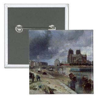 Notre-Dame del Quai de la Tournelle, 1852 Pin Cuadrada 5 Cm