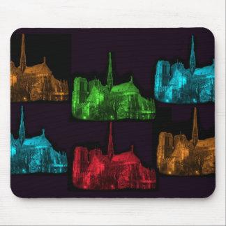 Notre Dame en el collage de la noche Alfombrillas De Raton