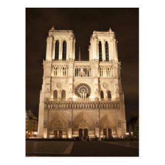 Notre Dame en la noche Tarjeta Postal