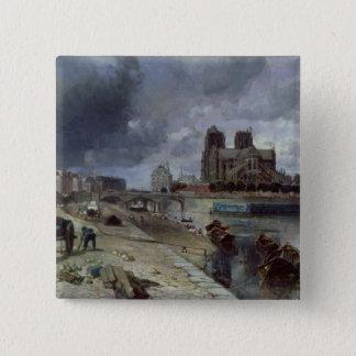 Notre-Dame from the Quai de la Tournelle, 1852 Pinback Button