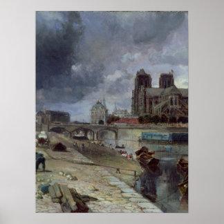 Notre-Dame from the Quai de la Tournelle, 1852 Posters