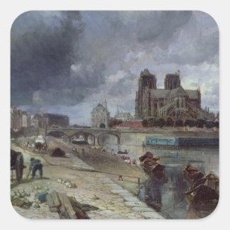 Notre-Dame from the Quai de la Tournelle, 1852 Square Sticker