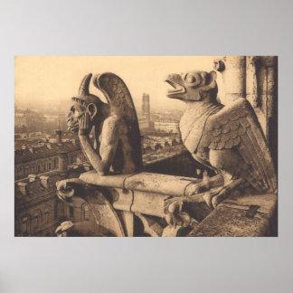 Notre Dame Gargoyle circa 1900 Poster